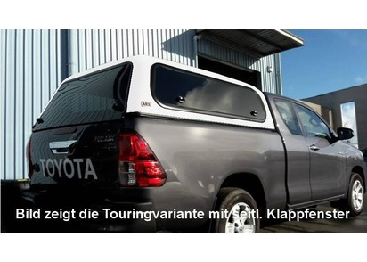 Commercial Hardtop für Toyota Hilux ab 15 Extra Cab, flach seitl. Aluklappen