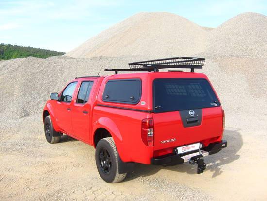 Touring Hardtop für Nissan Navara D40 ab 05 Doka flach seitl. Klappfenster