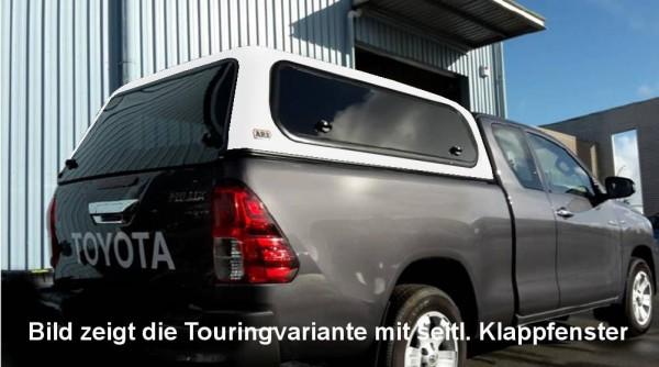 Touring Hardtop für Toyota Hilux ab15 Xtra flach, genarbt, seitl. Klappfenster