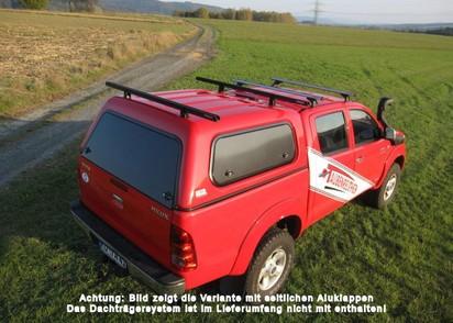 Touring Hardtop für Toyota Hilux 05-16 Doka flach seitl. Klappfenster