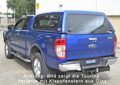 Commercial Hardtop für Ford Ranger 12- 2AB EC flach, glatt, seitl. Alu-Klappen